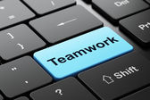 Finance concept: Teamwork on computer keyboard background — Stock Photo