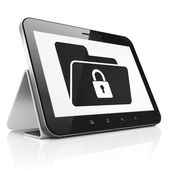 Finance concept: Folder With Lock on tablet pc computer — Stock Photo