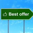 Business concept: Best Offer and Thumb Up on road sign background — Stok fotoğraf