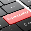 Social media concept: Community on computer keyboard background — Stock Photo #39629663