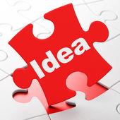Рекламная концепция: идея на фоне головоломка — Стоковое фото