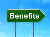 Finance concept: Benefits on road sign background — Stock Photo