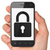 Information concept: Closed Padlock on smartphone — Stock Photo
