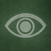 Privacy concept: Eye on chalkboard background — Stock Photo