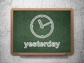 Timeline concept: Clock and Yesterday on chalkboard background — Stock Photo