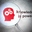 Education concept: Head With Gears and Knowledge Is power! with optical glass — Stock Photo