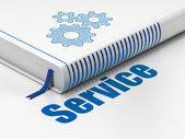 Business concept: book Gears, Service on white background — Stock Photo