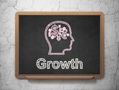 Business concept: Head With Finance Symbol and Growth on chalkboard background — Stock Photo