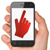 Social media concept: Mouse Cursor on smartphone — Stock Photo