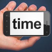 Timeline concept: Time on smartphone — Stock Photo