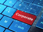 Finance concept: Corporate on computer keyboard background — Stock Photo