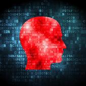 Concept d'information : tête sur fond numérique — Photo