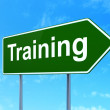 Education concept: Training on road sign background — Stock Photo #39746635