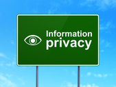 Protection concept: Information Privacy and Eye on road sign background — Foto de Stock