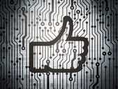 Social media concept: circuit board with Thumb Up — Stock Photo