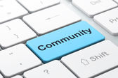 Social media concept: Community on computer keyboard background — Stock Photo