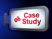 Education concept: Case Study and Gears on billboard background — Stock Photo