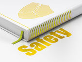 Privacy concept: book Broken Shield, Safety on white background — Foto Stock