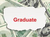 Education concept: Graduate on Money background — Stock Photo
