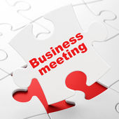 Business concept: Business Meeting on puzzle background — Stock Photo