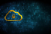 Cloud networking concept: Cloud With Padlock on digital background — Stock Photo