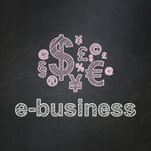 Business concept: Finance Symbol and E-business on chalkboard background — Stock Photo