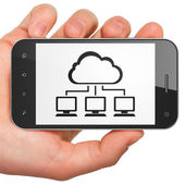 Cloud technology concept: Cloud Network on smartphone — Stock Photo