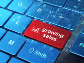 Business concept: Growth Graph and Growing Sales on computer keyboard background — Stock Photo