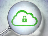 Cloud technology concept: Cloud With Padlock with optical glass on digital background — Stock Photo
