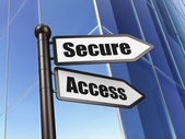 Privacy concept: sign Secure Access on Building background — Stockfoto