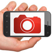 Tourism concept: Photo Camera on smartphone — Stock Photo