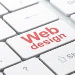 SEO web design concept: Web Design on computer keyboard background — Stock Photo