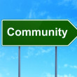 Social media concept: Community on road sign background — Stock Photo #39866125
