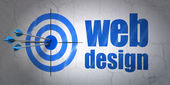 Web design concept: target and Web Design on wall background — Stock Photo