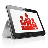 Marketing concept: Business Team on tablet pc computer — Photo