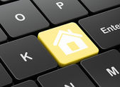 Security concept: Home on computer keyboard background — Zdjęcie stockowe