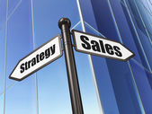 Marketing concept: sign Sales Strategy on Building background — Foto de Stock