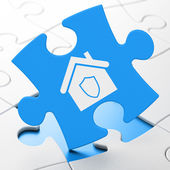 Security concept: Home on puzzle background — Stock Photo