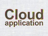 Cloud technology concept: Cloud Application on fabric texture background — Stock Photo