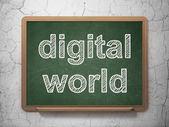 Information concept: Digital World on chalkboard background — Stock Photo
