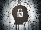 Finance concept: circuit board with Head With Padlock — Stock Photo