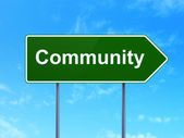 Social media concept: Community on road sign background — Stock Photo