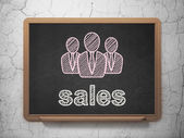 Advertising concept: Business People and Sales on chalkboard background — Stock Photo