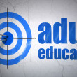 Stock Photo: Education concept: target and Adult Education on wall background