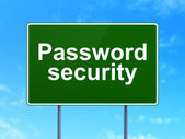 Protection concept: Password Security on road sign background — Stock Photo