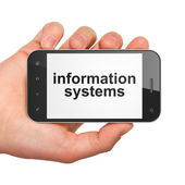 Concepto de datos: sistemas de información sobre smartphone — Foto de Stock