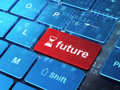 Timeline concept: Hourglass and Future on computer keyboard background — Stock Photo