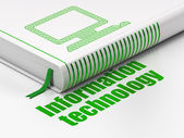 Information concept: book Computer Pc, Information Technology on white background — Foto Stock