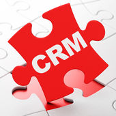 Business concept: CRM on puzzle background — Stock Photo