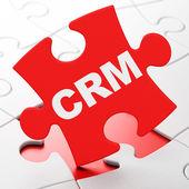Business concept: CRM on puzzle background — Foto de Stock